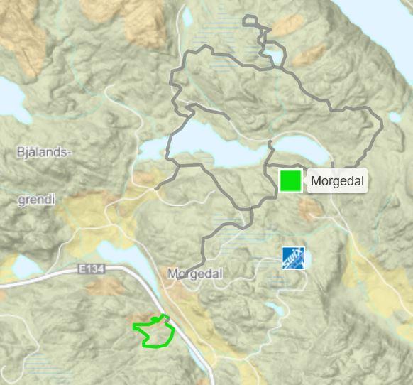Kart skiløyper i Morgedal
